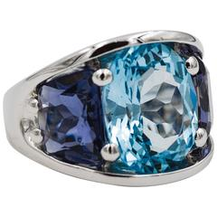 Seaman Schepps Blue Topaz and Iolite White Gold Ring