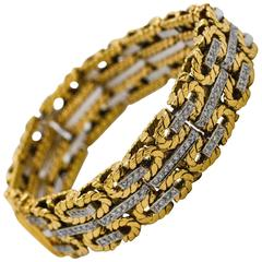 1980s Yellow and White Gold Diamond Stitch Bracelet