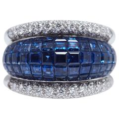 Invisible Set Sapphire Diamond Platinum Ring