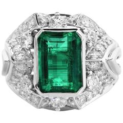 1960s GIA Certified  Colombian Emerald Diamond Cocktail Ring