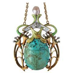 Guillemin Frères Fin de Siècle Enamel Turquoise Pearl Diamond Gold Necklace