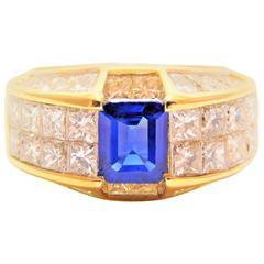 Emerald-Cut Sapphire and Rare Quadrillion-Cut Diamonds Gold Ring