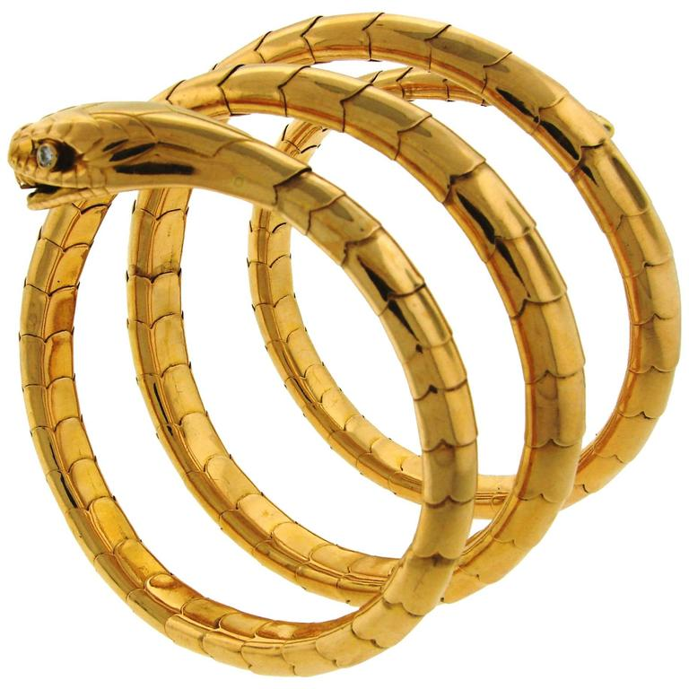 1950s Yellow Gold Spiral Snake Bangle Bracelet