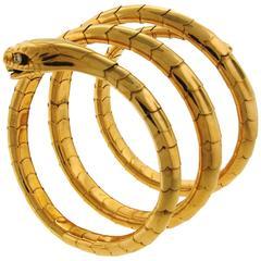 1950s Yellow Gold Spiral Snake Bangle Bracelet