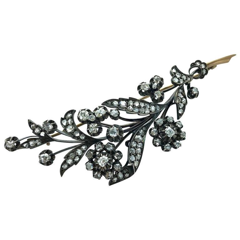 1890s Russian Diamond Silver Gold Flower Brooch
