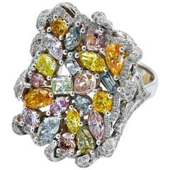 GIA Certified Fancy Colored Natural Diamond Collection Ring