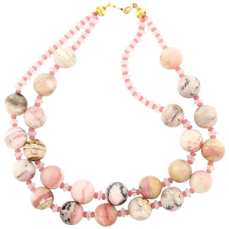 Opals from Peru and Rose Quartz Necklace