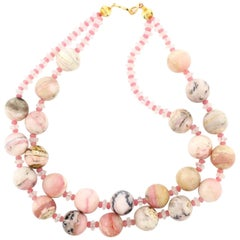 Gemjunky BoHo Chic Double Strand Peruvian Opals  and Rose Quartz Necklace