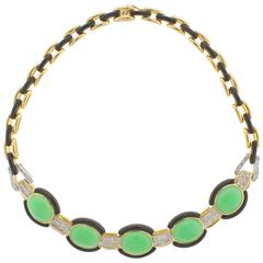 Trio Jade Black Onyx Diamond Necklace