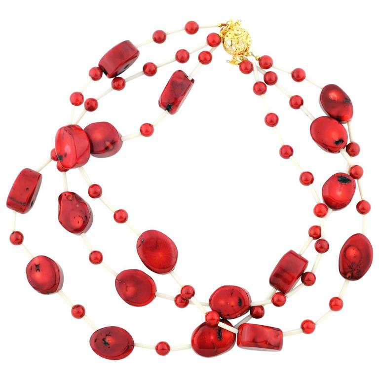 Red Bamboo Coral and White Coral Necklace