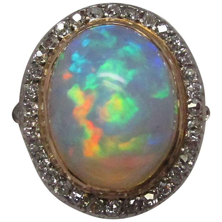 Edwardian Opal Diamond Platinum over Gold Ring For Sale