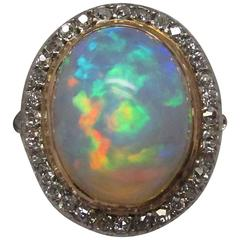 Edwardian Opal Diamond Platinum over Gold Ring