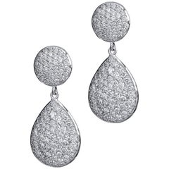Diamond Pave Drop Earrings 4.05 Carat 18 Karat White Gold Earrings