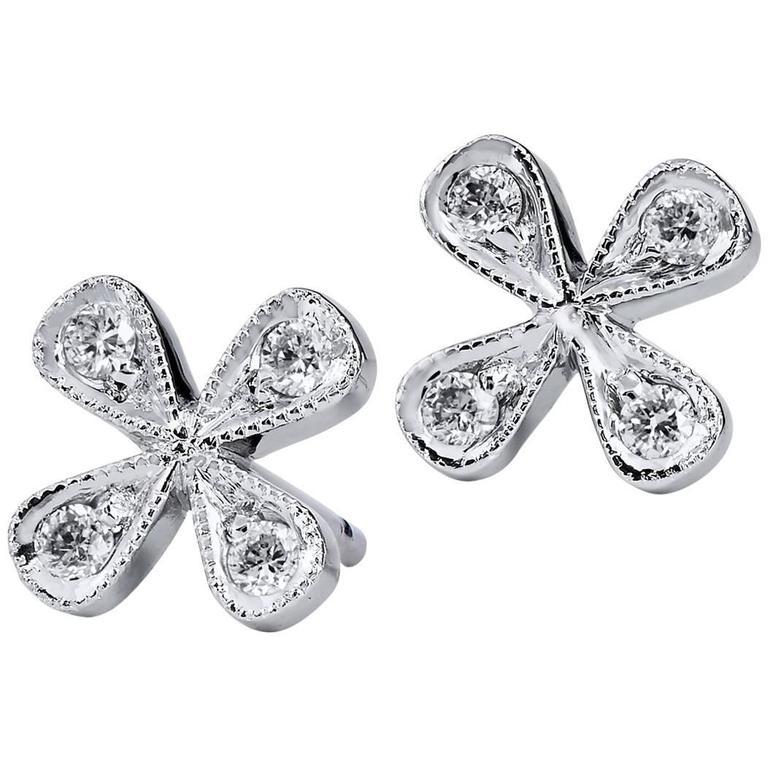 H & H Flower Stud Diamond White Gold Earrings