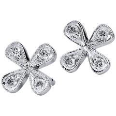 H & H Flower Stud Diamond White Gold Earrings