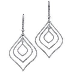 2.13 Carat Diamond Pave White Gold Drop Earrings