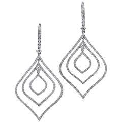 2.13 Carat Diamond Pave White Gold Drop Earrings