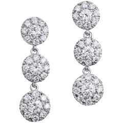 1.38 Carat Diamond White Gold Dangle Earrings