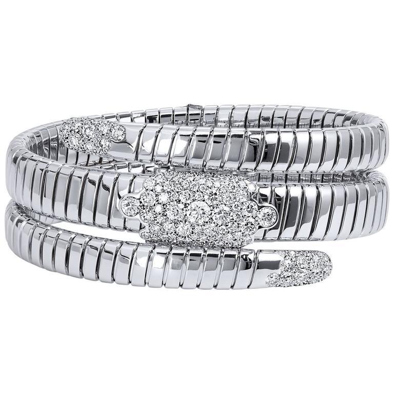 Coil Design Diamond white gold Bangle Bracelet