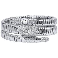 Coil Design Diamond white gold Bangle Bracelet