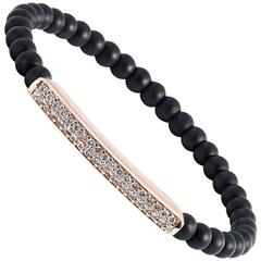 Aspery and Guldag Onyx Diamond Rose Gold Bead Bracelet