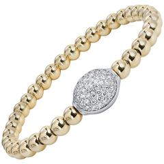 0.57 Carat Diamond Oval and Yellow Gold Bead Bracelet