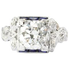 Art Deco GIA 2.09 Carat Diamond Sapphire Platinum Engagement Ring