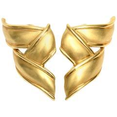 Vintage Tiffany & Co. 18 Karat Gold Pierced Lever Back Earrings