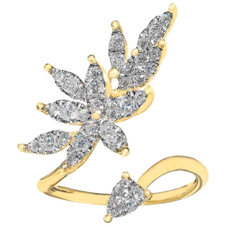 White Diamond Open Yellow Gold Marquise Petals Ring