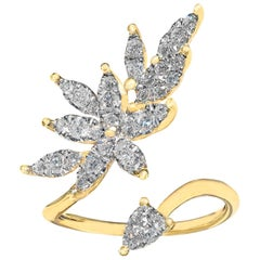 Fern Freeman White Diamond Open Yellow Gold Marquise Petals Ring