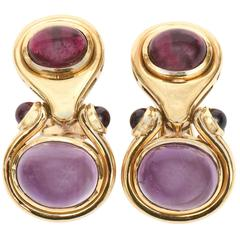 Pair of Cabochon Amethyst &18K Yellow Gold Pierced Lever Back Earrings
