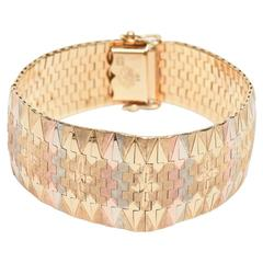 Vintage Tri-Color 18K Gold Diamond Patterned Cuff Bracelet