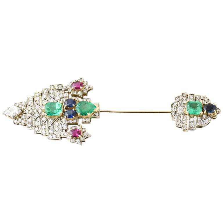 Emerald Ruby Sapphire Diamond Gold Jabot Pin Brooch