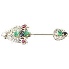 Emerald Ruby Sapphire Diamond Gold Jabot Pin Brooch