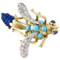 1970s Lapis Lazuli Turquoise Sapphire and Diamond Gold Bug Brooch