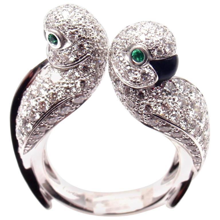 Cartier Les Oiseaux Libérés Diamond Emerald Onyx Love ...