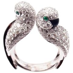 Cartier Les Oiseaux Libérés Diamond Emerald Onyx Love Birds White Gold Ring