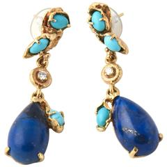 1970s Lapis Lazuli Turquoise Diamond Gold Drop Earrings