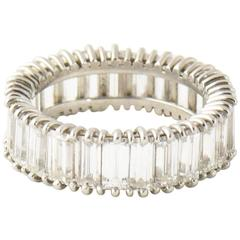 Mid-20th Century 5 Carat Emerald Cut Diamond Platinum Eternity Band Ring