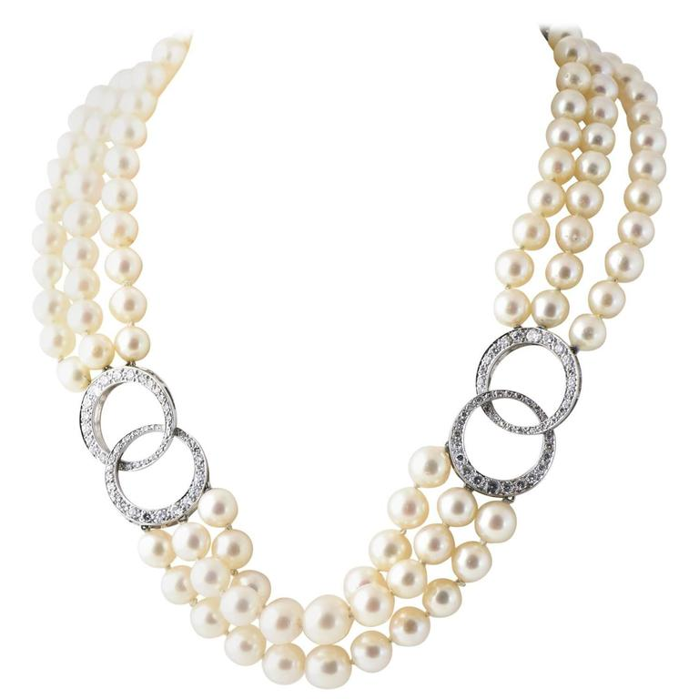 Adjule Triple Stand Cultured Pearl Diamond White Gold Necklace For