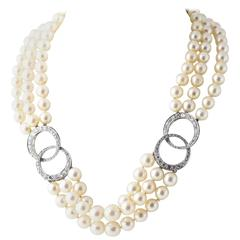 Adjustable Triple Stand Cultured Pearl Diamond White Gold Necklace