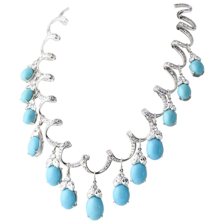 Red Carpet Glamorous Costume Diamond and Turquoise Garland Necklace 1