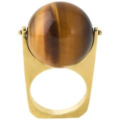 1960s R. Stone Spinning Tiger's Eye Ball Gold Ring