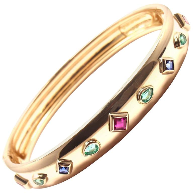Cartier Sapphire Emerald Ruby Yellow Gold Bangle Bracelet