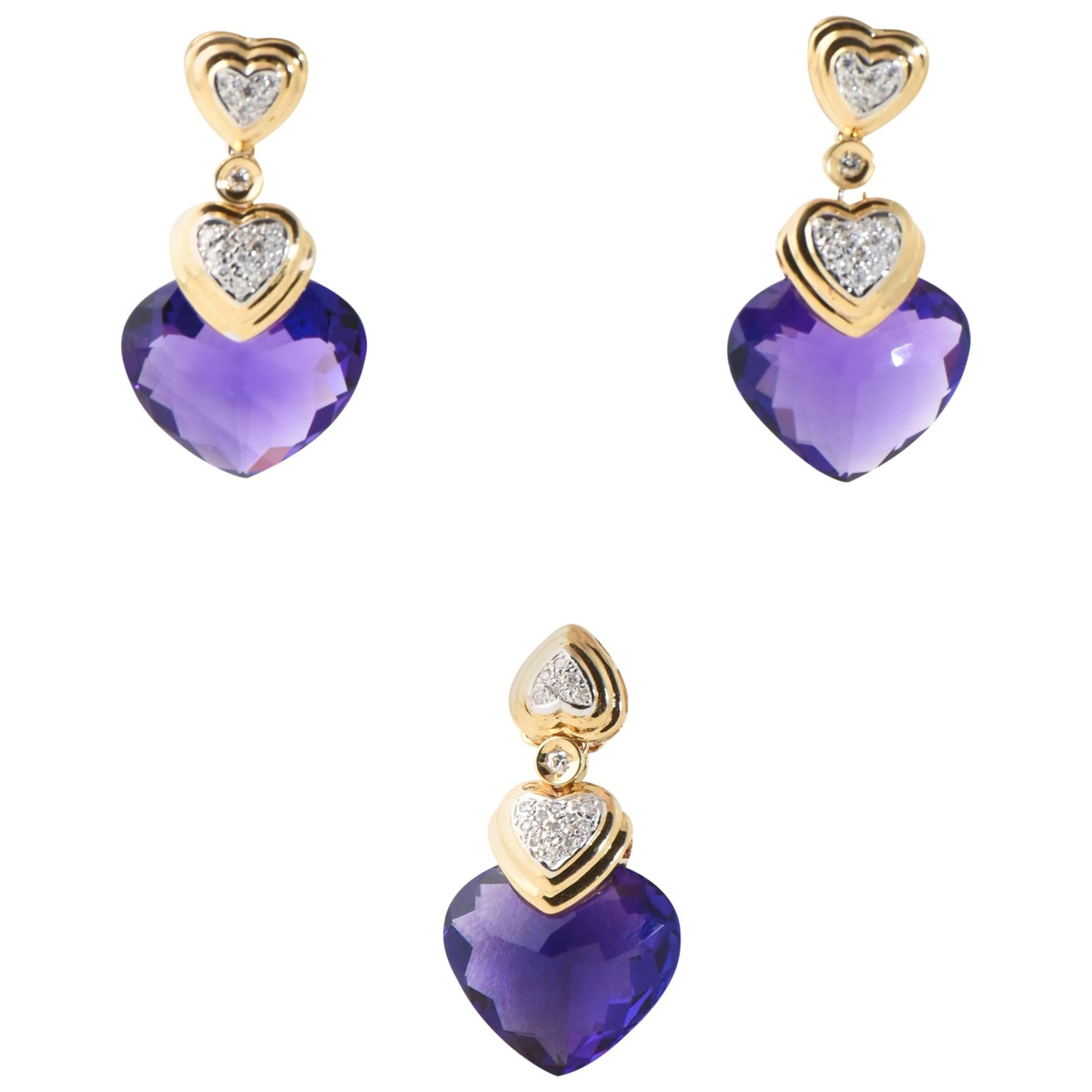 Amethyst Diamond Gold Drop Earrings and Matching Pendant Suite