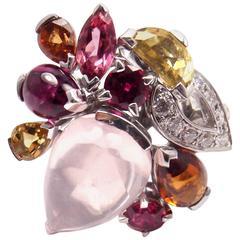 Cartier Sorbet Pink Quartz Tourmaline Diamond White Gold Large Ring