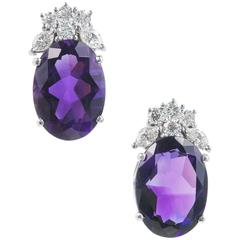 10.00 Carat Deep Purple Amethyst Diamond Gold Dangle Earrings