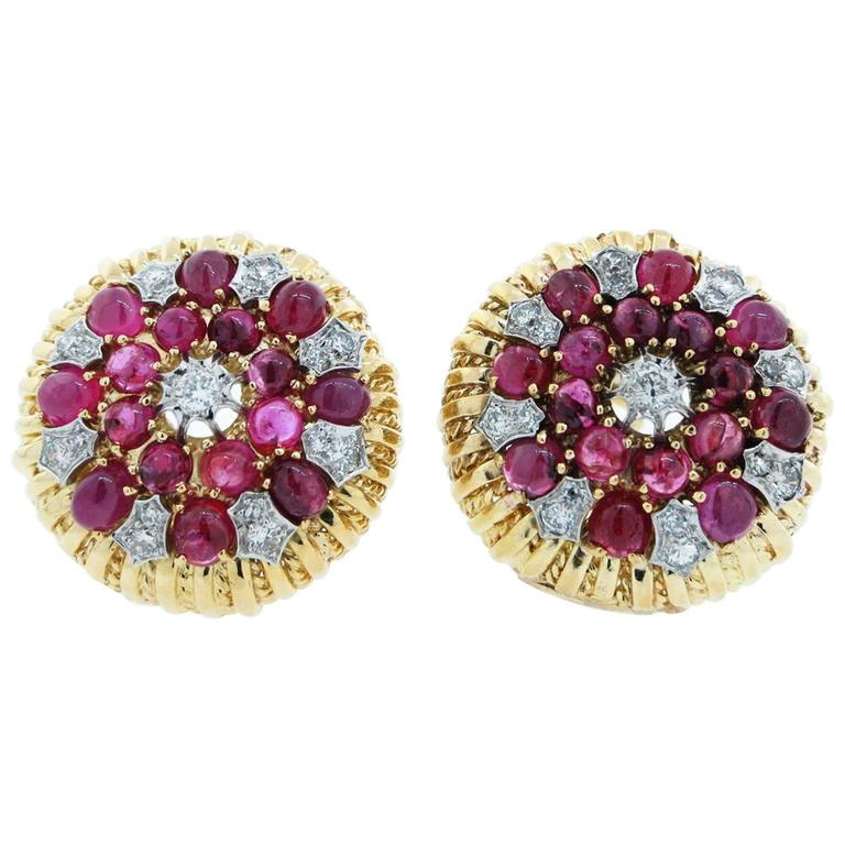 Cabochon Ruby Diamond Two Color Gold Earrings