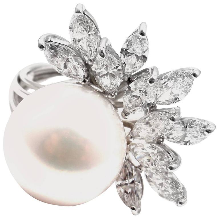 1960s Diamond South Sea Pearl Platinum Cocktail Ring