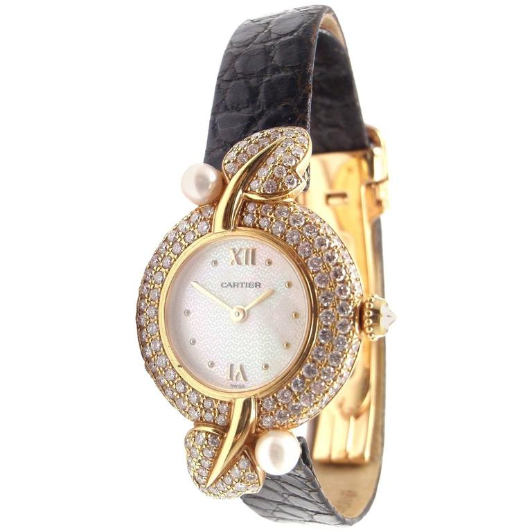 Cartier Ladies Yellow Gold Diamond Pearl Quartz Wristwatch